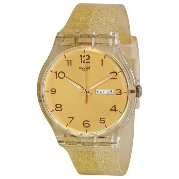 Swatch Unisex SUOK704 'Golden Sparkle' Gold-Tone Silicone Watch