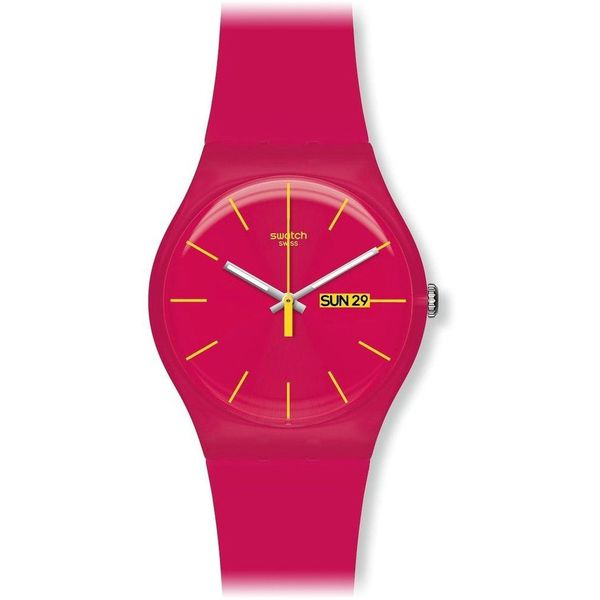 Swatch Unisex SUOR704 'Rubine' Pink Silicone Watch