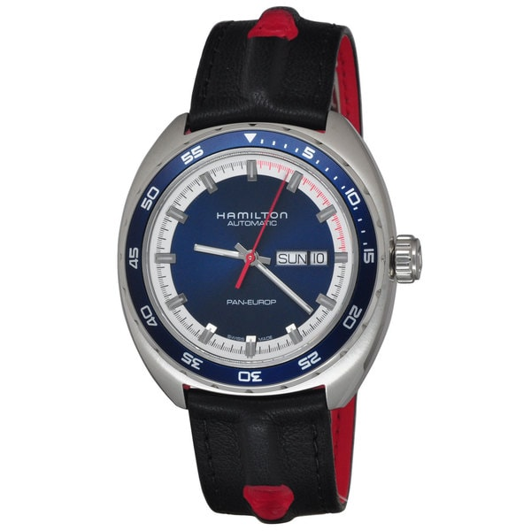 Hamilton Men's H35405741 'Timeless Pan Europ' Automatic Two Bands Blue red and black Canvas and leather Watch