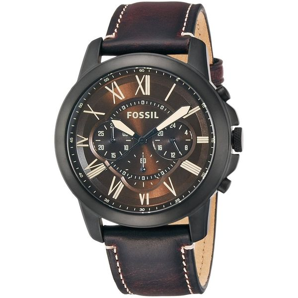 Fossil Men's FS5088 'Grant' Chronograph Brown Leather Watch