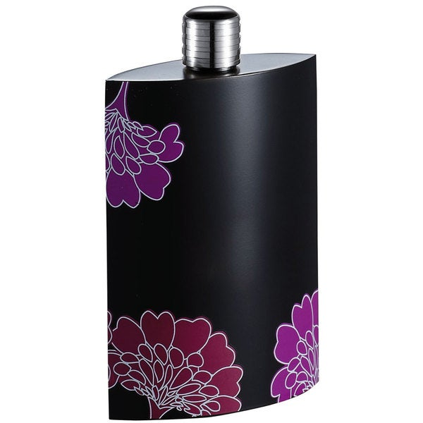 Visol Bloom Black Floral Liquor Flask - 3.5 ounces