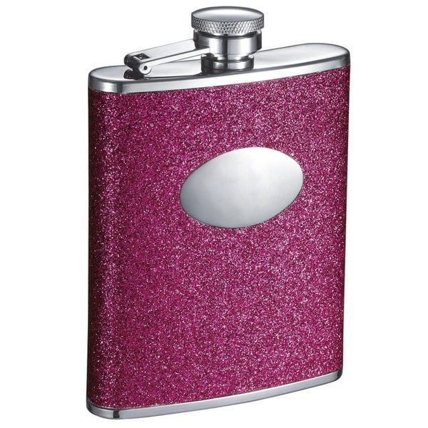 Visol Ashlee Glitter Hot Pink Liquor Flask - 6 ounces