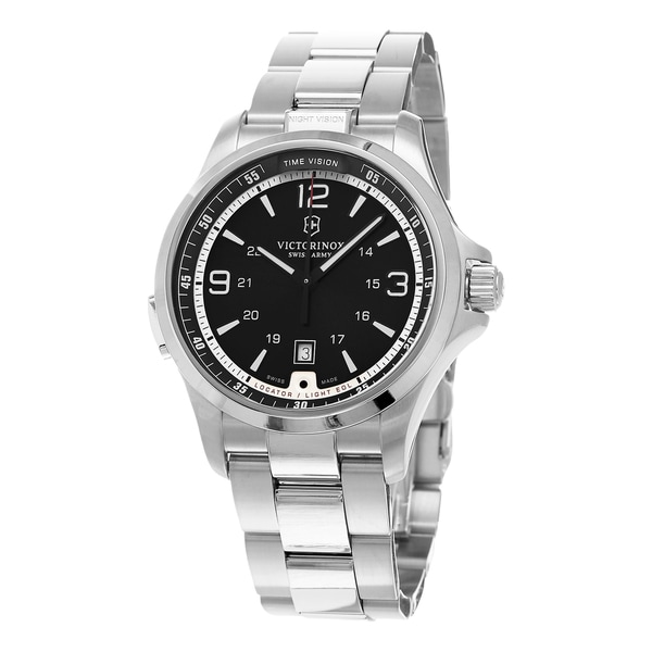 Swiss Army Men's 241569 'Night Vision' Grey Dial Stainless Steel Bracelet Swiss Quartz Watch