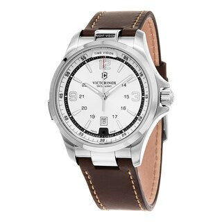 Swiss Army Men's 241570 'Night Vision' Silver Dial Brown Leather Strap Swiss Quartz Watch