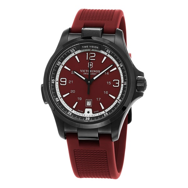 Swiss Army Men's 241717 'Night Vision' Red Dial Red Rubber Strap Swiss Quartz Watch
