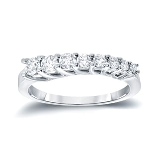 Auriya 14k White Gold 1/4ct TDW Round-Cut Diamond Journey Ring (H-I, I1-I2)