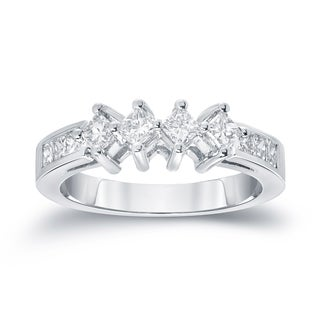 Auriya 14k White Gold 1ct TDW Princess-Cut Diamond Wedding Band (G-H, SI1-SI2)