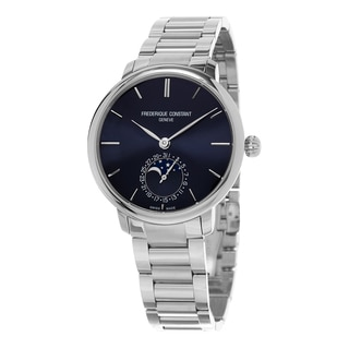 Frederique Constant Men's FC-703N3S6B 'Slim Line' Blue Dial Stainless Steel Moon phase Swiss Automatic Watch