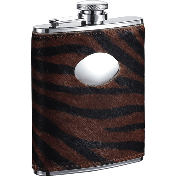 Visol Bengal Synthetic Tiger Pattern Calf Hair Liquor Flask - 6 ounces 16296674