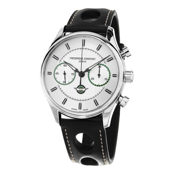 Frederique Constant Men's FC-397HS5B6 'VintageRally' Silver Dial Black Leather Strap Limited Edition Automatic Watch