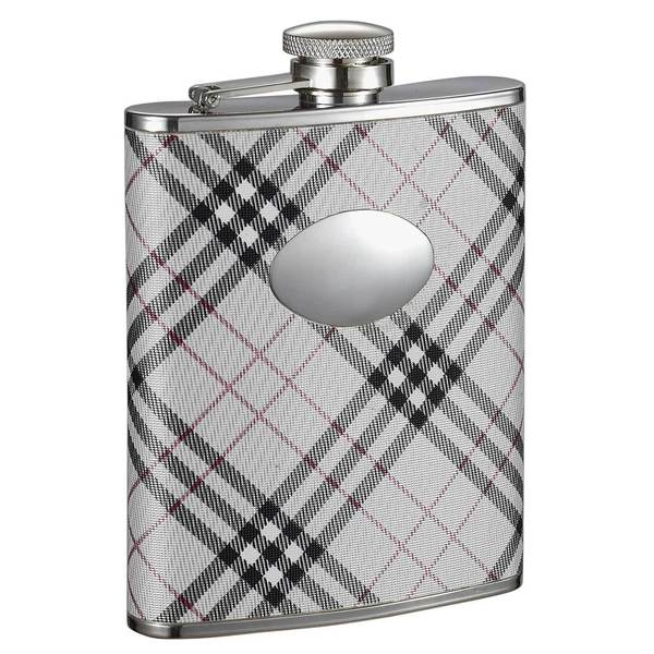 Visol Stellar Black & White Plaid Liquor Flask - 6 ounces