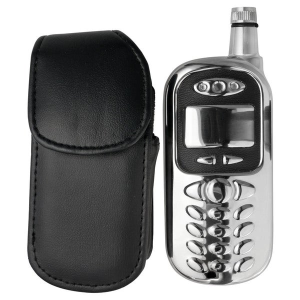 Visol Sneak Cell Phone Stainless Steel Liquor Flask with Leather Pouch - 3 ounces 16296779