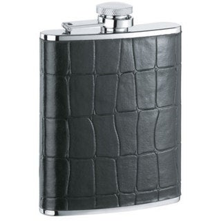Visol Beau Monde Black Crocodile Leather Liquor Flask - 6 ounces