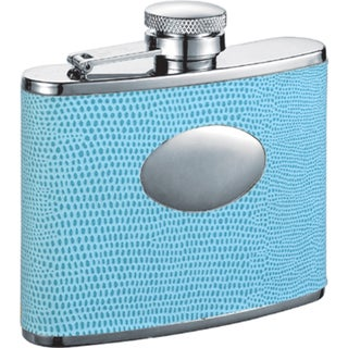 Visol Stella Light Blue Lizard Pattern Liquor Flask - 4 ounces