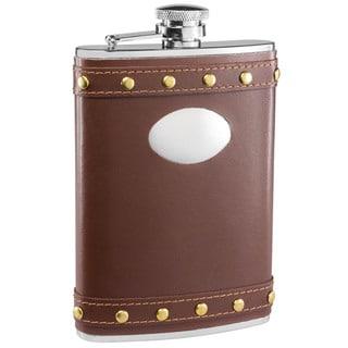Visol Rocker Brown Leather Studded Liquor Flask - 8 ounces