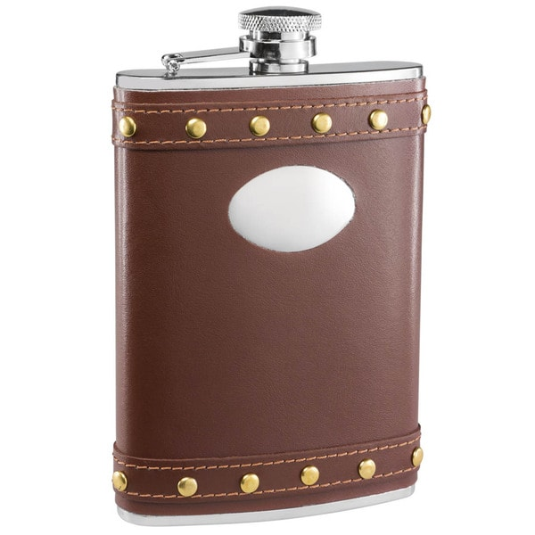 Visol Rocker Brown Leather Studded Liquor Flask - 8 ounces