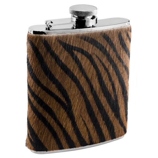 Visol Bengal X Synthetic Tiger Pattern Calf Hair Liquor Flask - 6 ounces 16296865