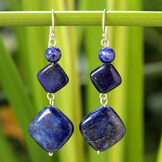 Sterling Silver 'Forever Blue' Lapis Lazuli Earrings (Thailand)