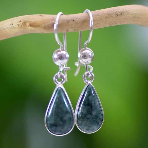 Sterling Silver 'Pale Green Tears' Jade Earrings (Guatemala)