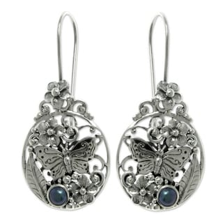 Silver 'Frangipani Butterfly' Pearl Earrings (4 mm) (Indonesia)