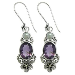 Queen of Flowers Oval Amethysts Totaling 11 Carats with Freshwater Pearls Set in 925 Sterling Silver Dangle Earrings (Indonesia)