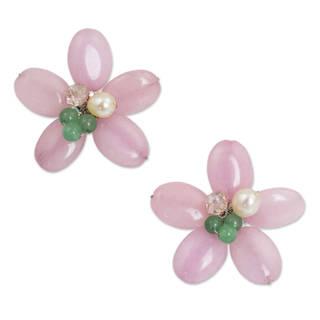 Silver 'Pink Thai Daisy' Pearl Quartz Earrings (6 mm) (Thailand)