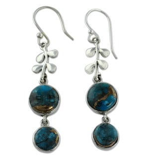Sterling Silver 'Sweet Blueberries' Turquoise Earrings (India)
