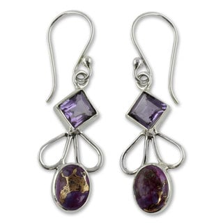 Sterling Silver 'Bollywood Purple' Amethyst Turquoise Earrings (India)