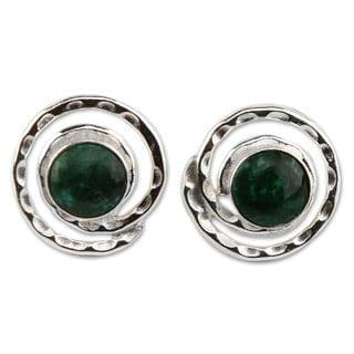 Handcrafted Sterling Silver 'Cuzco Aura' Chrysocolla Earrings (Peru)