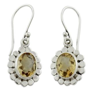 Handcrafted Sterling Silver 'Radiant Petals' Citrine Earrings (India)