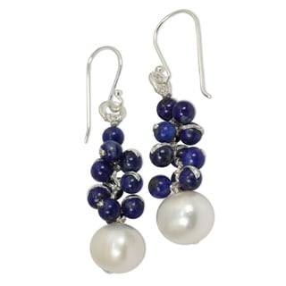 Sterling Silver 'Blue Sonata' Lapis Pearl Earrings (9 mm) (Thailand)