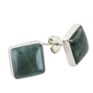 Handcrafted Sterling Silver 'Life Divine' Jade Earrings (Guatemala)