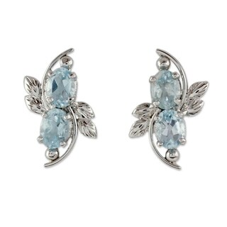 Handcrafted Sterling Silver 'Elegant Azure' Topaz Earrings (India)