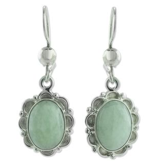 Sterling Silver 'Apple of the Forest' Jade Earrings (Guatemala)