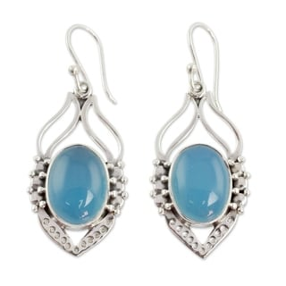 Passion Leaf Dramatic Blue Green Aqua Oval Chalcedony Gemstones 925 Sterling Sterling Silver Womens Dangle Earrings (India)