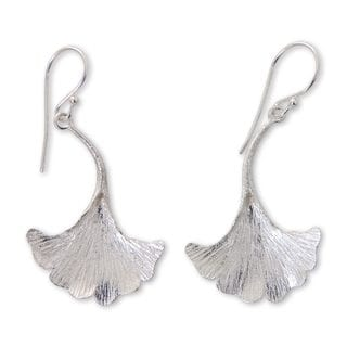 Handcrafted Sterling Silver 'Oyster Mushroom' Earrings (Indonesia)