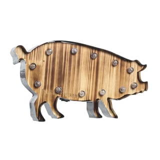 """Apothecary & Company 20"""" LED Marquee Sign - Pig"""