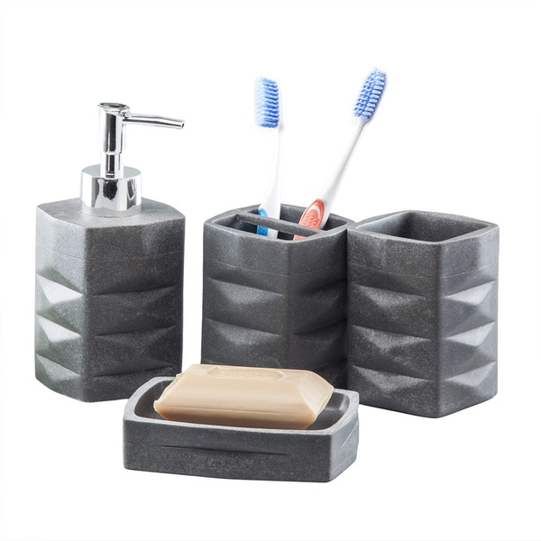 Resin 4-Piece Bathroom Accessory Set - Black