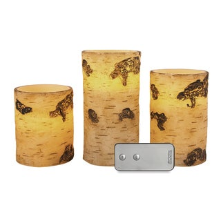 Apothecary & Company 3-Piece LED Candle Set With Remote - Birch