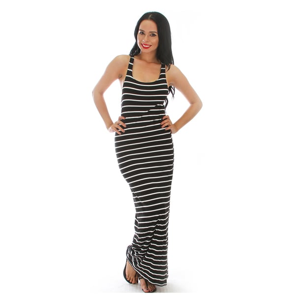 Striped Racer Back Maxi Dress