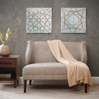 Madison Park Arctic Geometric Printed Canvas with Metallic Ink