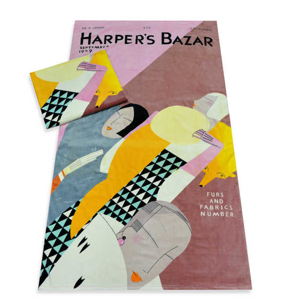 Harper's Bazaar 'Furs and Fabrics' Beach Towels - 40-inch x 70-inch