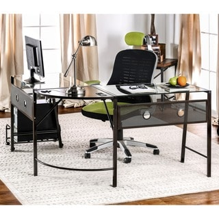 Furniture of America Kriston Metal L-shaped Computer Workstation with CPU shelf