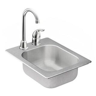 Moen 13-inch x 17-inch Stainless Steel 20 Gauge Single Bowl Drop in Sink