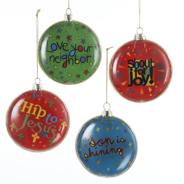 Kurt Adler 90mm Good News Bubble Glass Ornament Set of 4