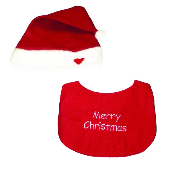Kurt Adler Baby's Christmas Bib and Hat Set of 2 Pieces
