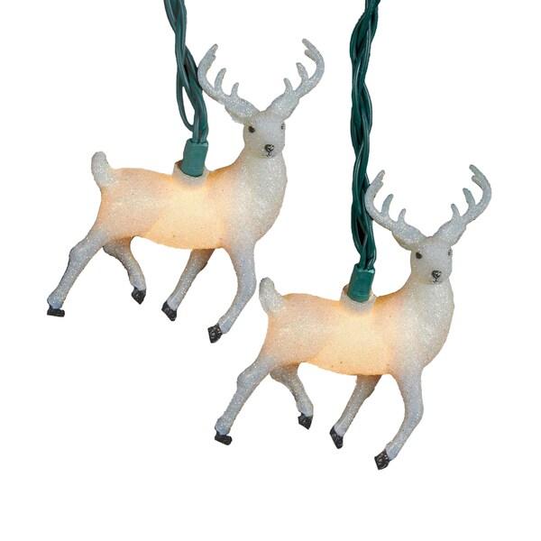 Kurt Adler UL 10-Light White Glitter Reindeer Light Set