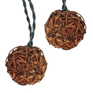 "Kurt Adler UL 10-Light 2.35"" Rattan Ball Light Set"