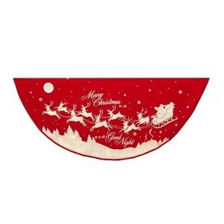 Kurt Adler 48-Inch Reindeer and Santa Printed Treeskirt
