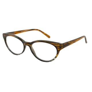 Urban Eyes Women's UE99130 Brown Stripes Oval Reading Glasses